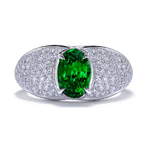 Tsavorite Ring with D Flawless Diamonds set in Platinum