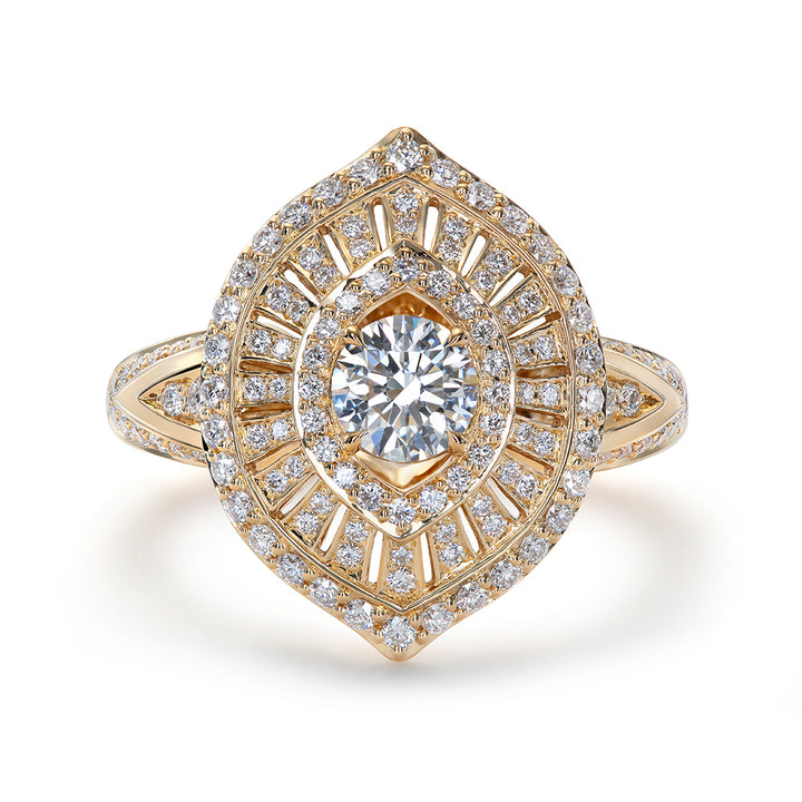 D Flawless Diamond Solitaire Ring set in 18K Yellow Gold
