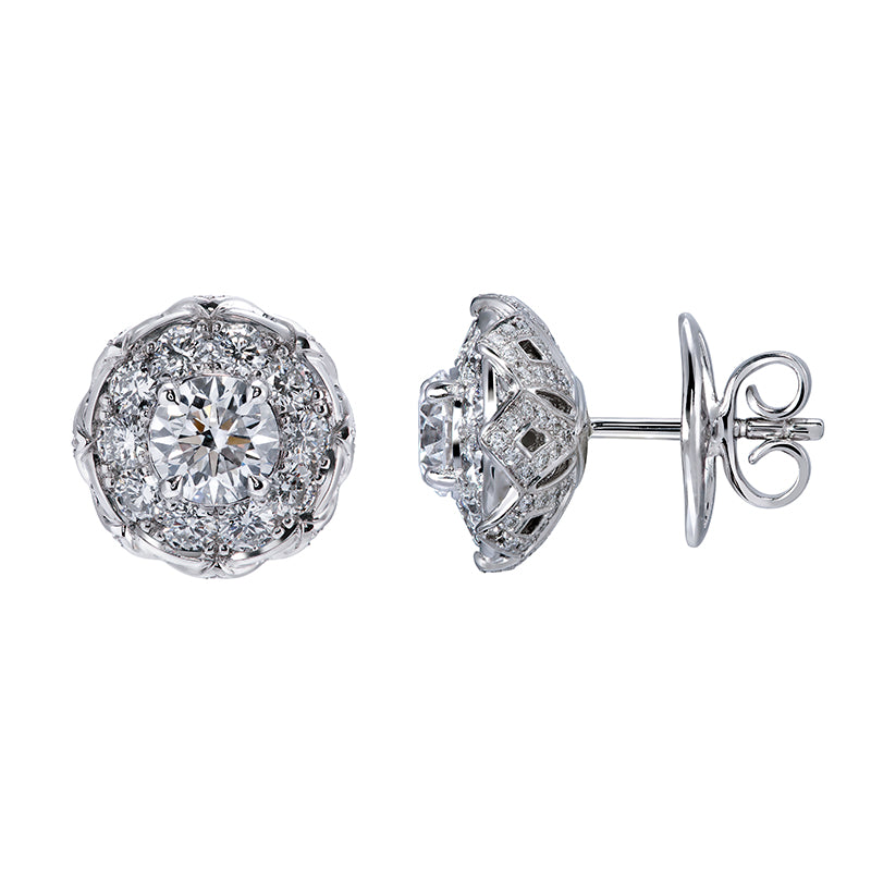 D Flawless Diamond Solitaire Earrings set in Platinum
