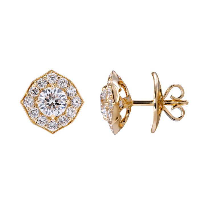 D Flawless Diamond Solitaire Earrings set in 18K Yellow Gold