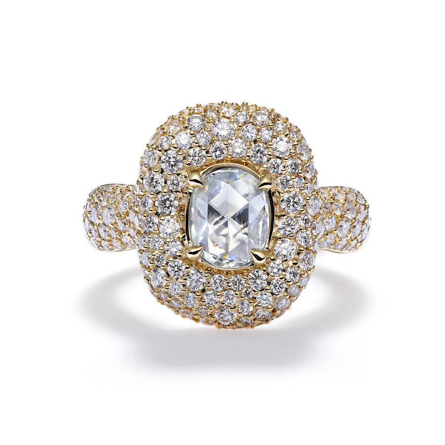 Old World Rose Cut Diamond Ring with D Flawless Diamonds set in 18K Yellow Gold