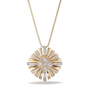 D Flawless Diamond Necklace set in 18K Yellow Gold