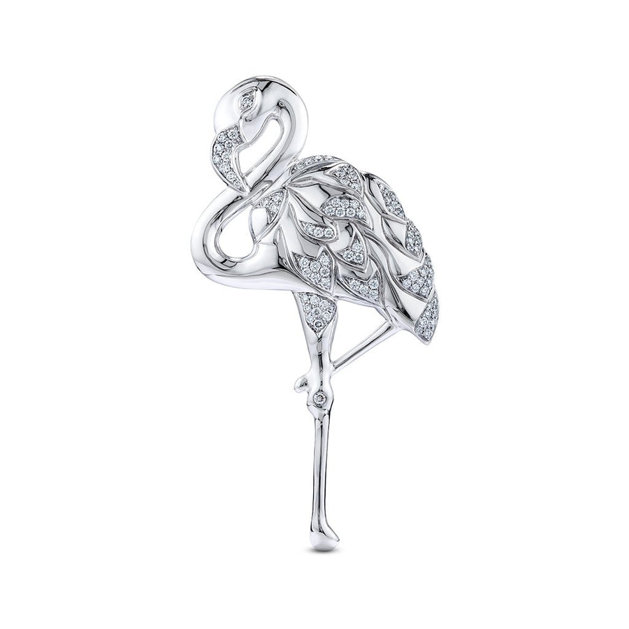 D Flawless Diamond Brooch set in 18K White Gold
