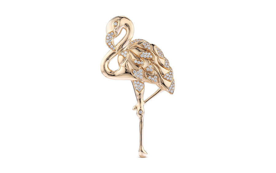 D Flawless Diamond Brooch set in 18K Yellow Gold