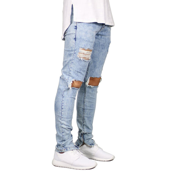 Men Jeans Stretch Destroyed Ripped Design Fashion Ankle Zipper Skinny Jeans