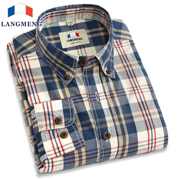 Langmeng  autumn spring mens plaid casual shirts long sleeve 100% cotton dress shirt men retro style camiseta masculina