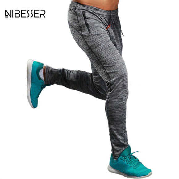 Summer Fitness Pants Men Elastic Breathable Sweat Pants Grey Drawstring Outwear Clothing Male Pants Trousers New