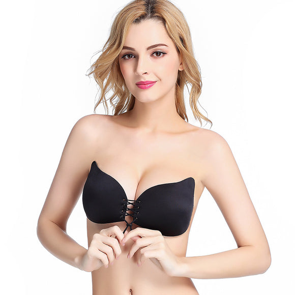 Lace Up Self Adhesive Invisible Strapless Push Up Bra Top Stick Gel Silicone Bralette Sexy Deep V Fly Bras for Women Sujetador