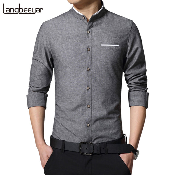 Fashion Casual Men Shirt Long Sleeve Mandarin Collar Slim Fit Shirt Men Korean Business Mens