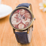 Women female Watches leisure Ladies Watch Fashion Casual Unique World Map Cowboy Quartz Wrist Watches Simple Elegance Clock Gift