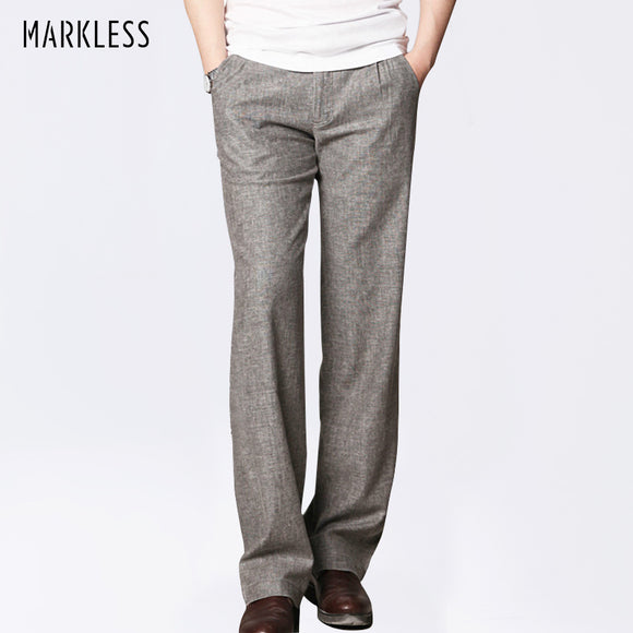 Thin Linen Men Pants Male Commercial Loose Casual Business Trousers Men's Clothing Straight Fluid Man Pants