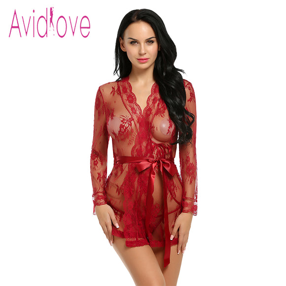 Avidlove Sexy Lingerie Robe Dress Women Lingerie Sexy Hot Erotic Plus Size Nightwear Sex Costumes Kimono Bathrobe Dressing Gown