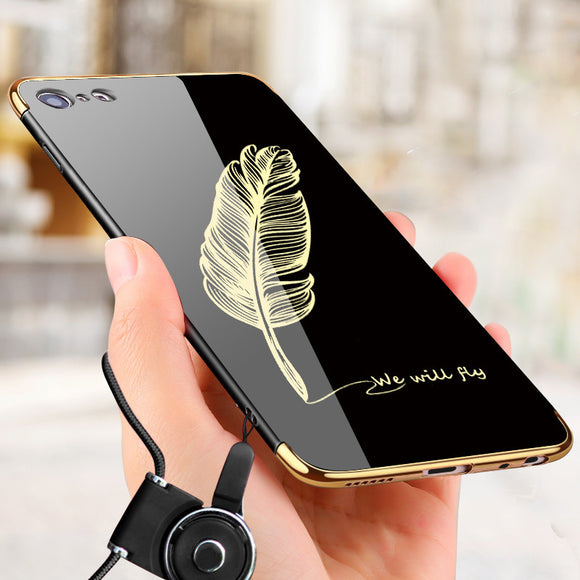 Gold Luxury Plating Luxury Mirror Case For iPhone 8 Cover For iPhone 7 6 6S Plus 7 Plus 8 Plus Glossy Feather Mirror Phone Cases