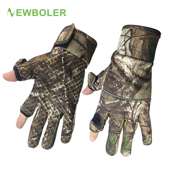 Winter Fishing Gloves Camouflage Full/2 Half Finger Gloves Hunting Camping Anti Slip Gel Outdoor Sports Keep Warm Gloves Camo