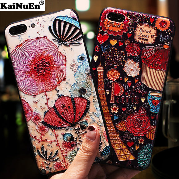 KaiNuEn luxury 3d flower phone capinha,coque,cover,case for iphone 7 plus 7plus silicone silicon accessories for apple iphone7 i