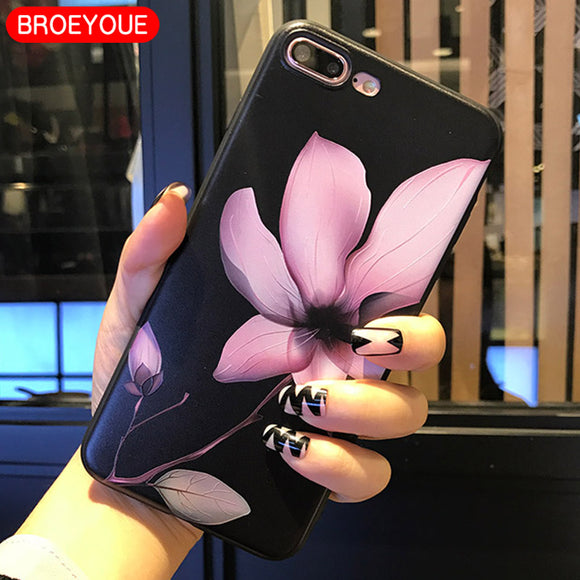 BROEYOUE Case For Samsung Galaxy A3 A5 A7 J2 J3 J5 J7 2016 2017 Relief Silicone Cases For iPhone 5 5S SE 6 6S 7 8 Plus X Cases