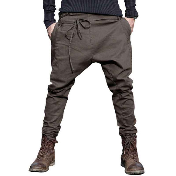 Harem Pants  Casual Sagging pants men Trousers low Crotch Pant Men Joggers Feet pants hanging crotch