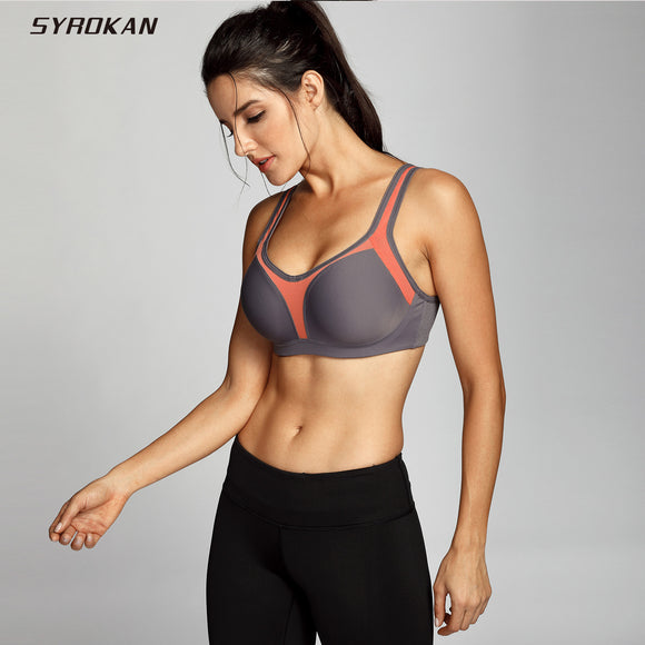 SYROKAN Women's Underwire Firm Support Contour High Impact Sports Bra