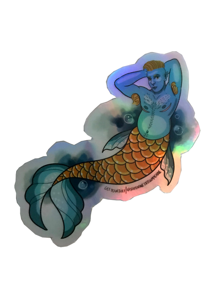 A metallic blue and gold merman strikes a pose. vinyl sticker get your joey