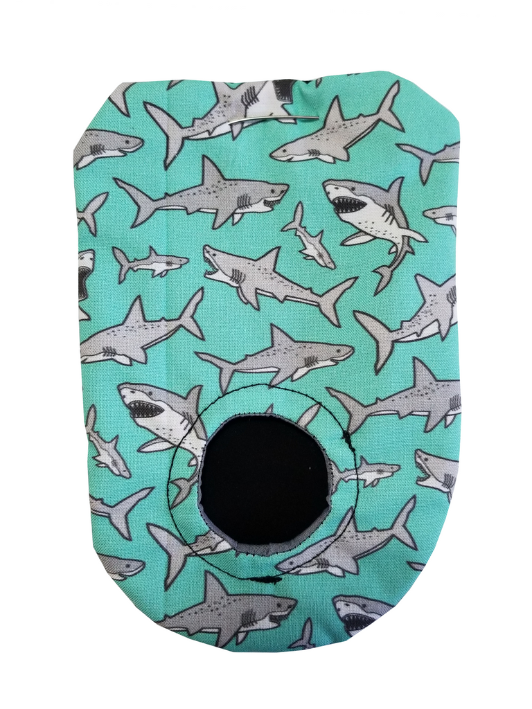 Grey sharks on a mint background.  packing pouch for FTM, transmasculine and non-binary people. Joeys hold your packer in place.