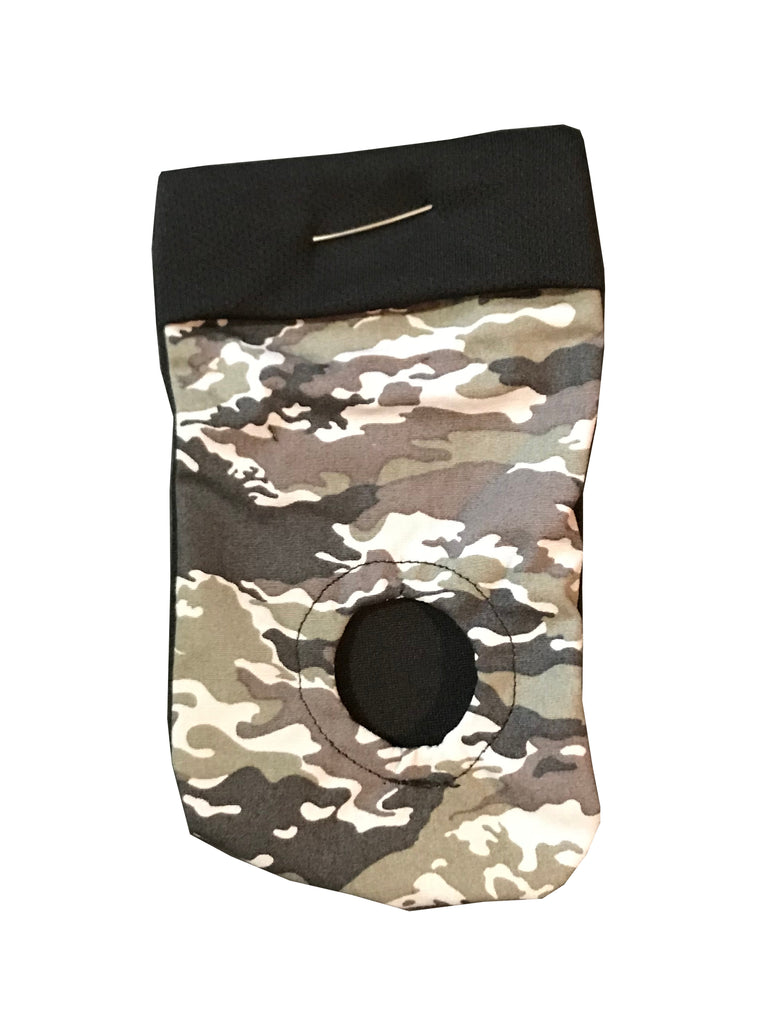 grey camouflage pattern. packing pouch for FTM, transmasculine and non-binary people. Joeys hold your packer in place