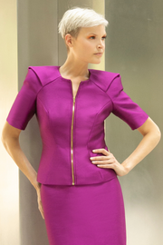Women's raspberry purple formal jacket with padded shoulders, elbow length sleeves and centered golden zipper