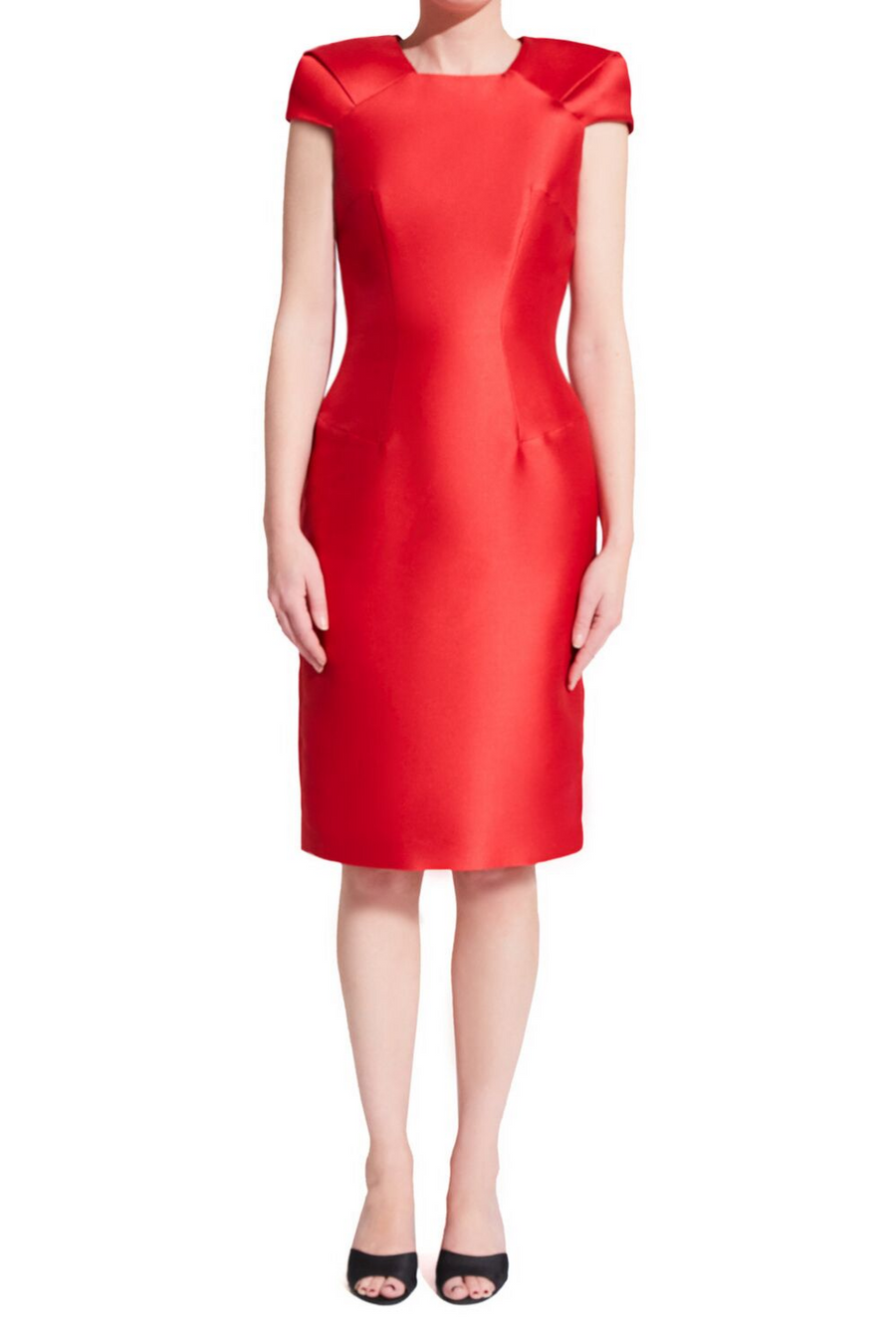 Short red bodycon cocktail dress with square/trapezoid neckline and oragami style cap sleeves