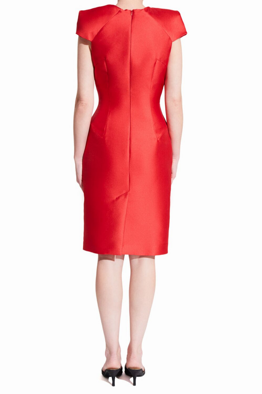 Short red bodycon cocktail dress with centered back slit and oragami style cap sleeves