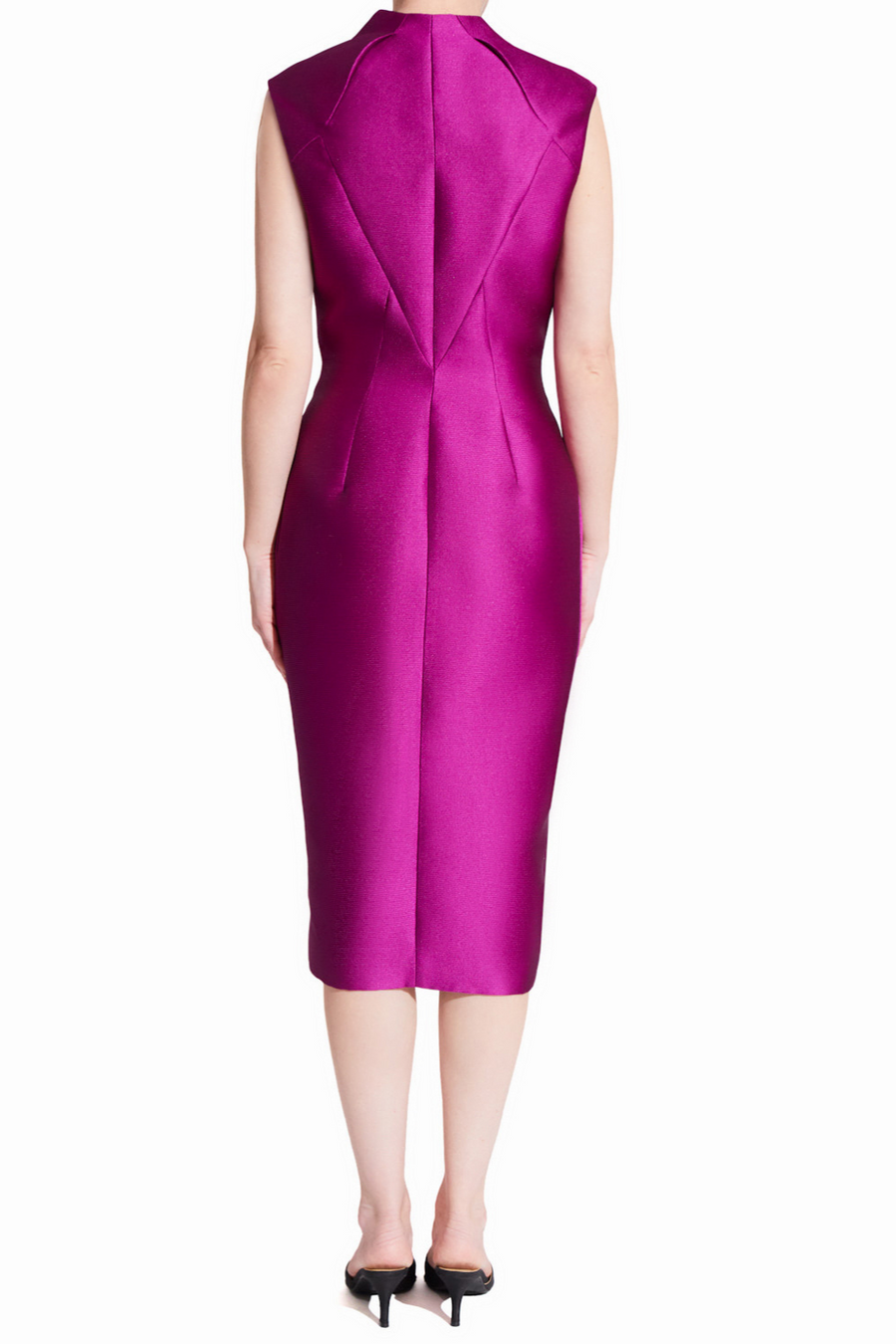 Rasberry purple sleeveless midi cocktail party dress with two-way gold zipper and adjustable front slit. The dress has a straight fit with a round high neck