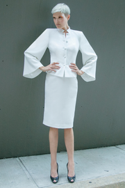 Women's White jacket with stylish kimono sleeves made with wrinkle-free brushed twill fabric, lightly padded shoulders, and standup mandarin collar