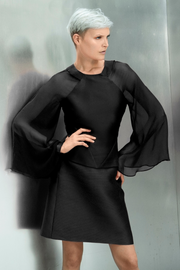 Black Kimono sleeve top with U neck. Made with Italian silk with chiffon sleeves
