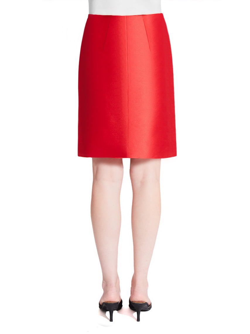 Ultra high-waisted red formal pencil skirt made with luxurious Italian silk blend pique fabric.