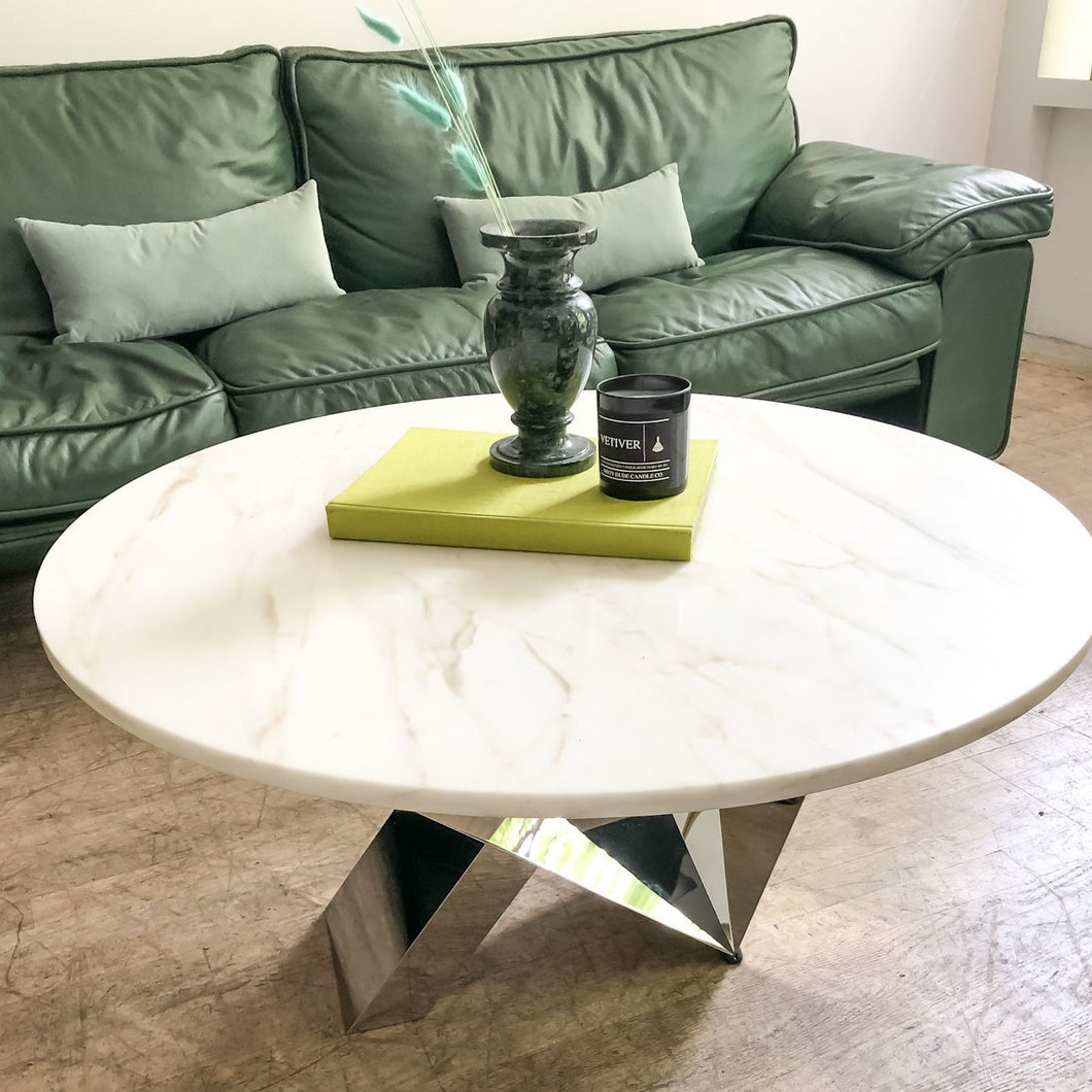 Marble & Chrome Sculptural Coffee Table