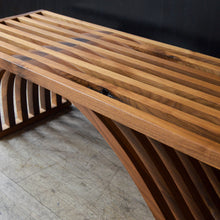 Load image into Gallery viewer, Sculptural Slatted Walnut Bench / Coffee Table by OT/TRA