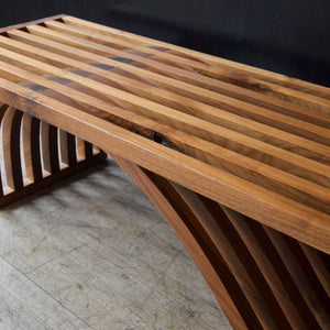 Sculptural Slatted Walnut Bench / Coffee Table by OTTRA