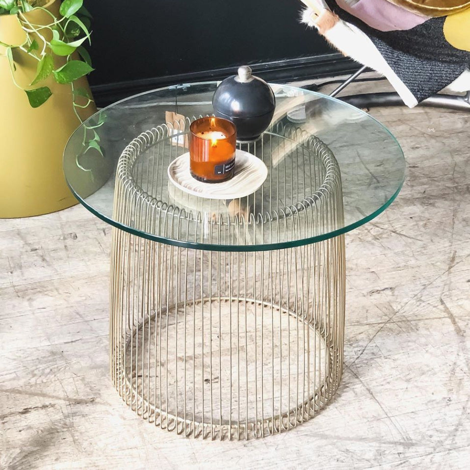 Brass & Glass Cage Side Table