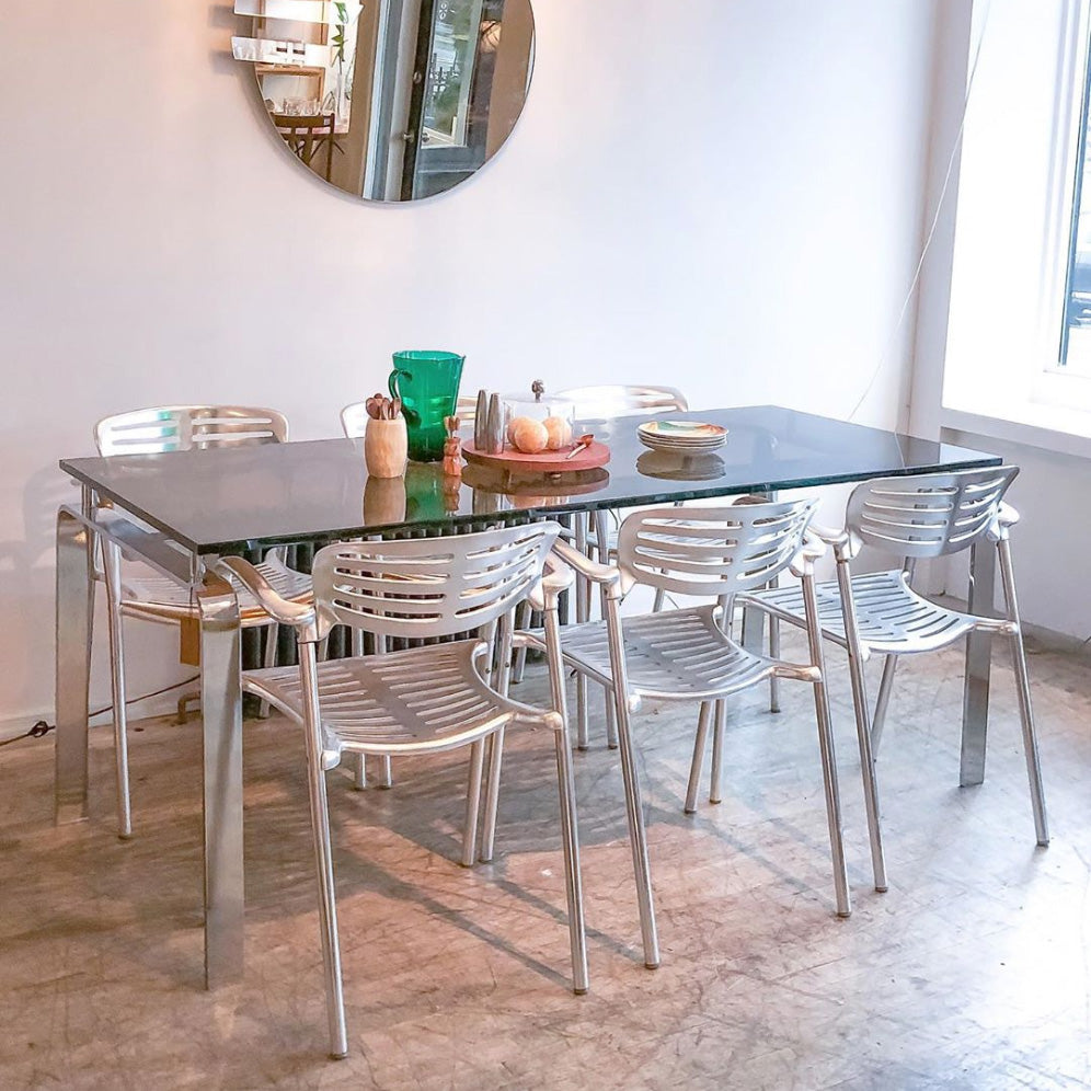 Chrome & Bronzed Glass Dining Table