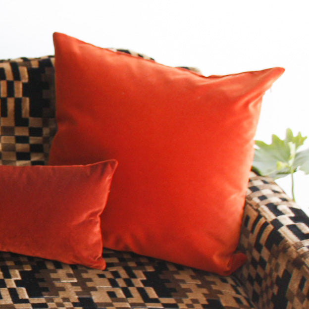 Velvet Square Pillow - Cognac