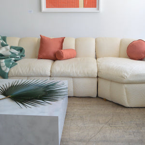 Ecru Jacquard Sectional Sofa
