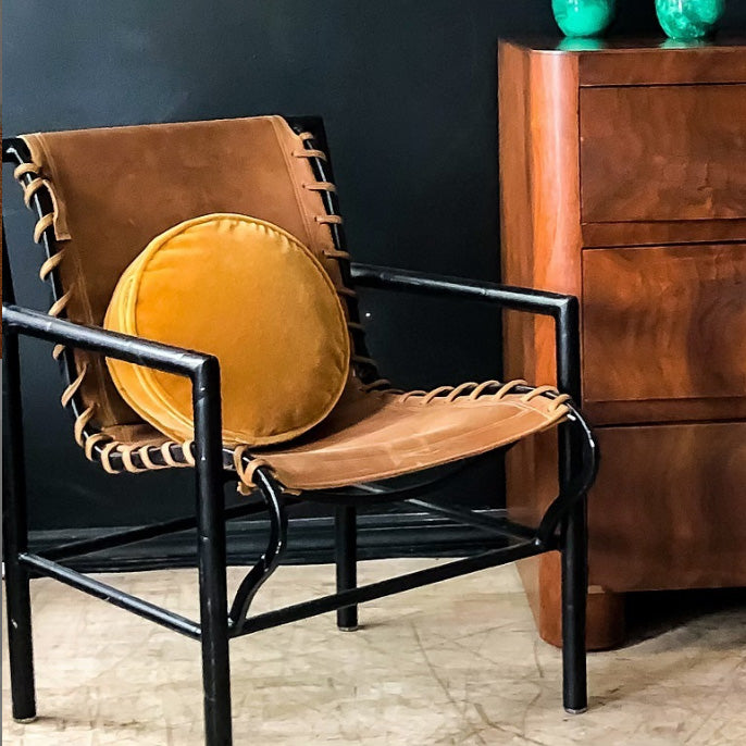 Saddle Leather & Metal Armchair