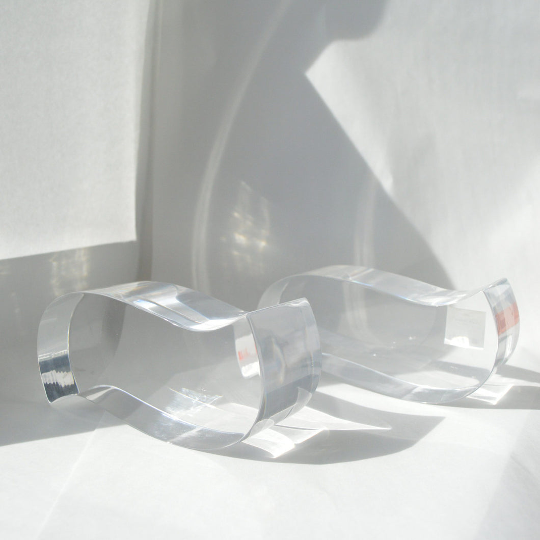 Lucite Wave Bookends