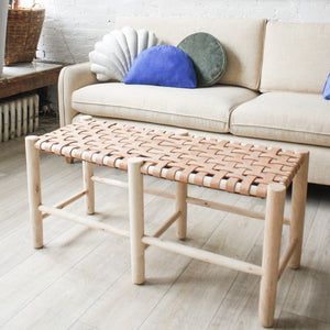 Moroccan Woven Leather Bench