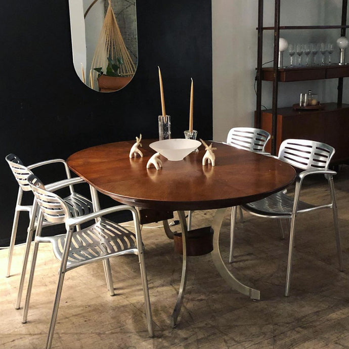 Chrome & Oak Extendable Dining Table