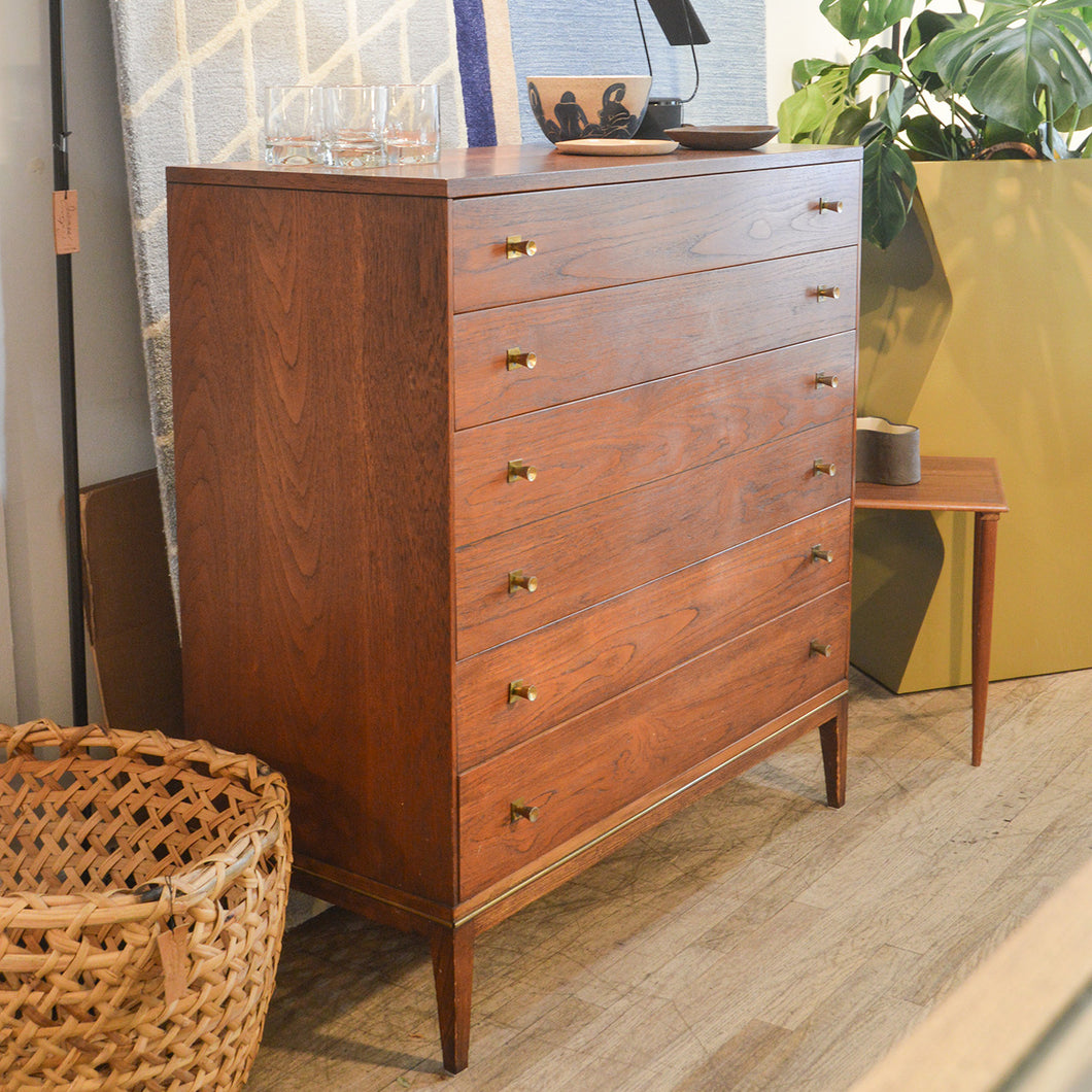 Rway Walnut & Brass Tallboy Dresser