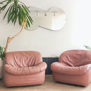 Dusty Rose Leather Lounge Chair