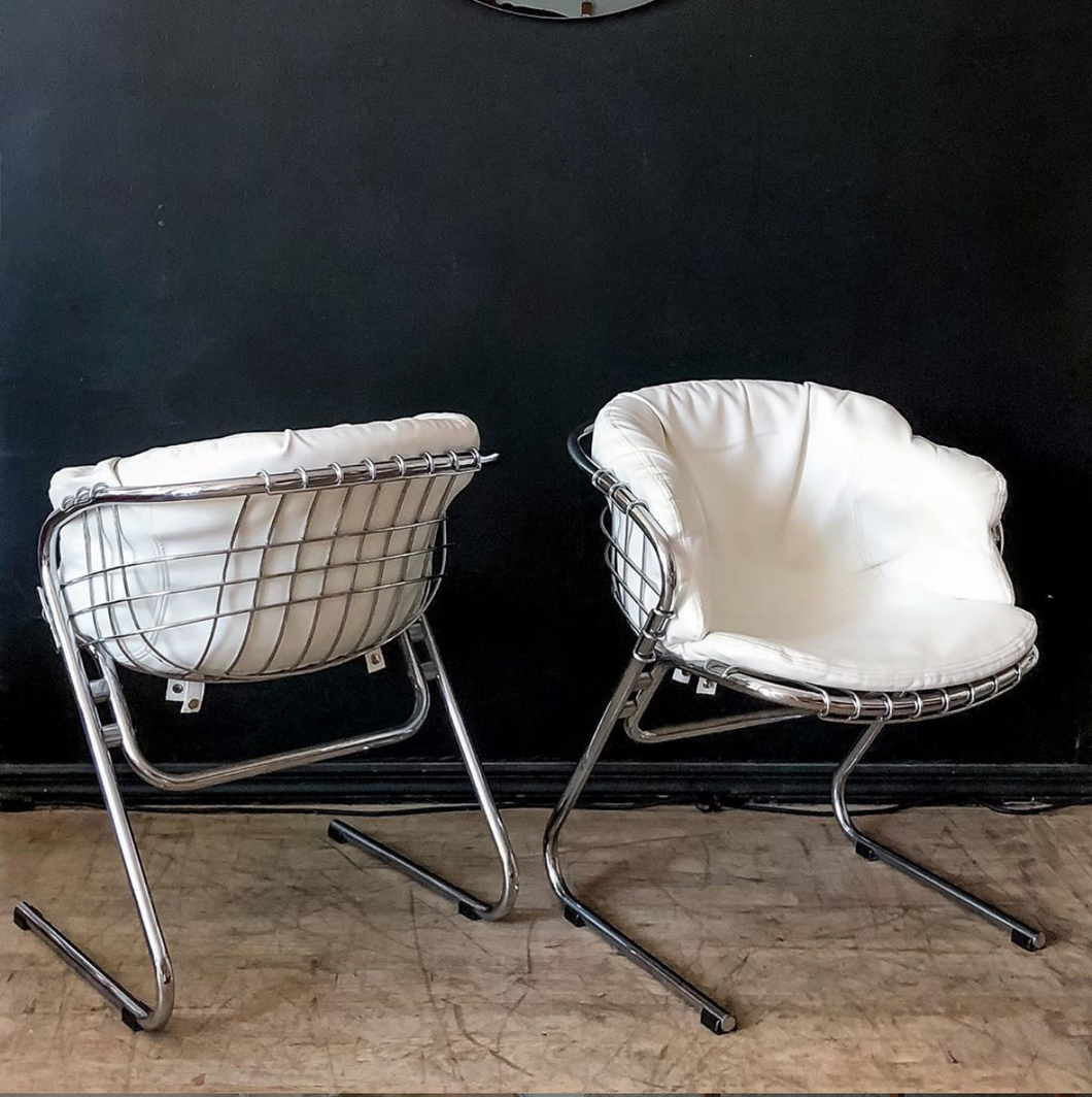 Gastone Rinaldi Chrome & Leatherette Cantilever Chairs