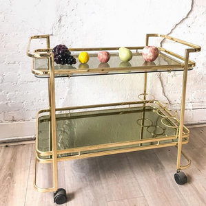 Brass and Glass Bar Cart
