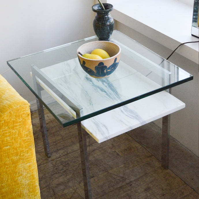 Architectural Chrome & Glass Side Table