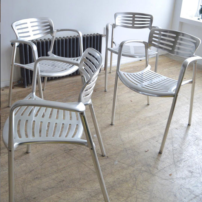 Chrome Metal Toledo Chairs by Jorge Pensi