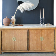 Load image into Gallery viewer, Walnut & Travertine Credenza Sideboard